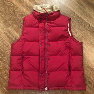 L.L. Bean Jackets & Coats - LL Bean Goose Down Puffer Vest Red XL Fur Collar